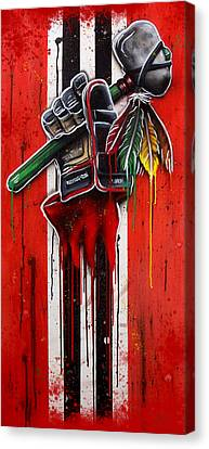 Warrior Glove On Red Canvas Print by Michael T Figueroa