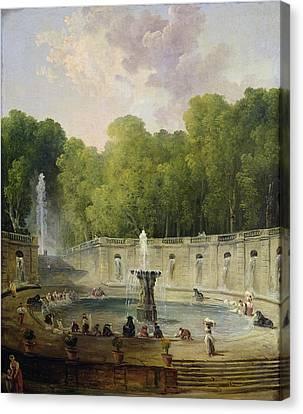 Washerwomen In A Park Canvas Print by Hubert Robert