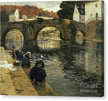 Washerwomen In The Morning At Quimperle  Canvas Print by Fritz Thaulow