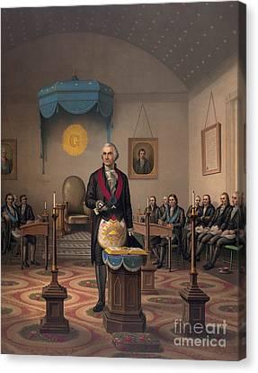 Washington As A Master Mason Canvas Print by American School