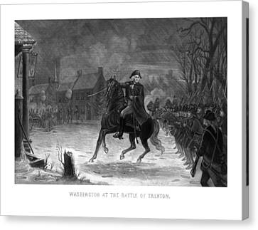 Washington At The Battle Of Trenton Canvas Print by War Is Hell Store