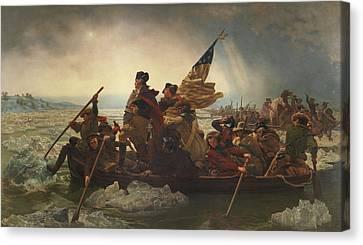 Washington Crossing The Delaware Painting  Canvas Print by Emanuel Gottlieb Leutze