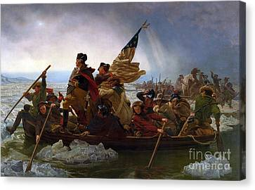 Washington Crossing The Delaware River Canvas Print by Emmanuel Gottlieb Leutze