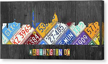 Washington Dc Skyline Recycled Vintage License Plate Art Canvas Print by Design Turnpike