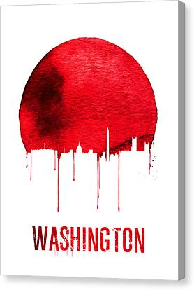 Washington Skyline Red Canvas Print by Naxart Studio