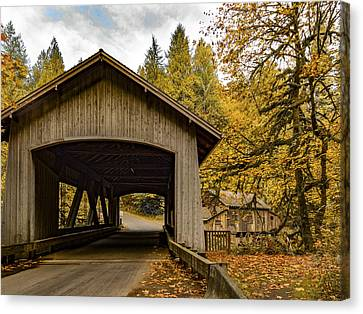 Washington State Covered Bridge And Grist Mill In Autumn  Canvas Print by Jean Noren
