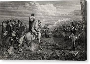 Washington Taking Command Of The Army Canvas Print by Vintage Design Pics