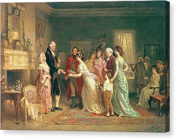 Washingtons Birthday Canvas Print by Jean Leon Jerome Ferris