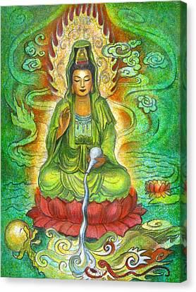 Water Dragon Kuan Yin Canvas Print by Sue Halstenberg