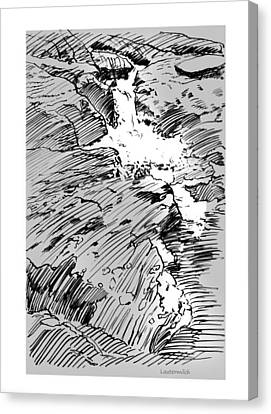 Water Fall Rocky Mountains Canvas Print by John Lautermilch