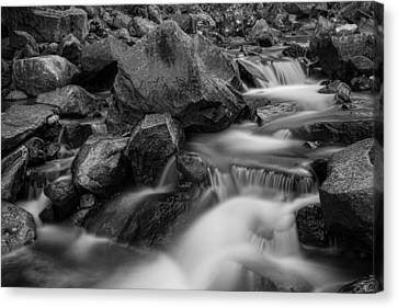 Water Falling On Boulder Creek In Black And White Canvas Print by James BO  Insogna