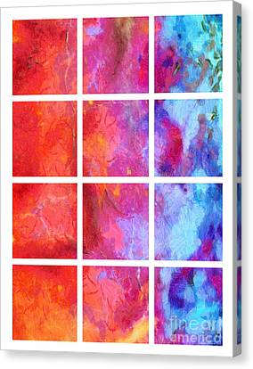 Water Fire Abstract Grid 5 Canvas Print by Edward Fielding