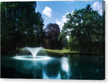 Water Fountain At Spring Grove Canvas Print by Tom Mc Nemar