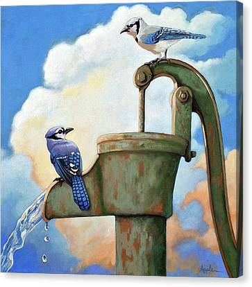 Water Is Life #3 -blue Jays On Water Pump Painting Canvas Print by Linda Apple