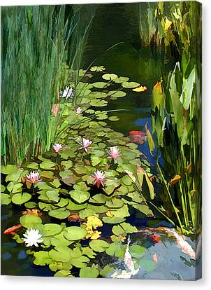 Water Lilies And Koi Pond Canvas Print by Elaine Plesser