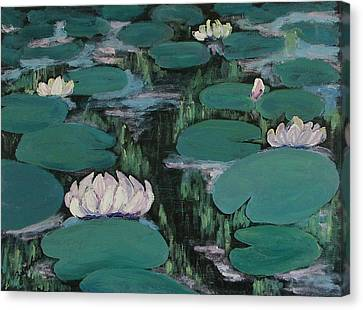 Water Lilies In Hawaii Canvas Print by Zanobia Shalks