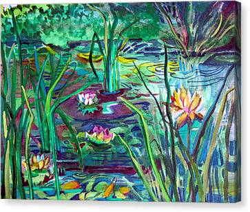 Water Lily Pond Canvas Print by Mindy Newman
