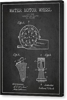 Water Motor Wheel Patent From 1906 - Charcoal Canvas Print by Aged Pixel