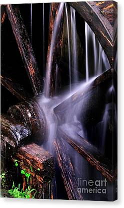 Water Over The Cable Mill Wheel Canvas Print by Thomas Schoeller