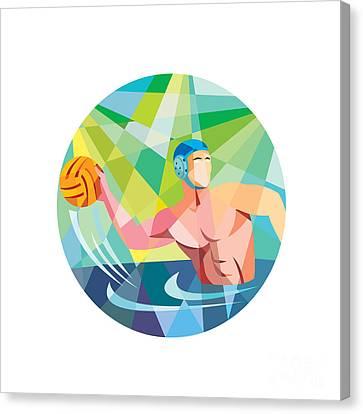 Water Polo Player Throw Ball Circle Low Polygon Canvas Print by Aloysius Patrimonio