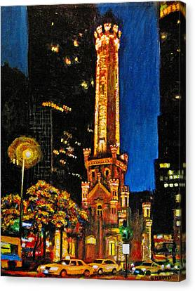 Water Tower At Night Canvas Print by Michael Durst
