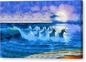 Water Unicorns Canvas Print by Leonardo Digenio