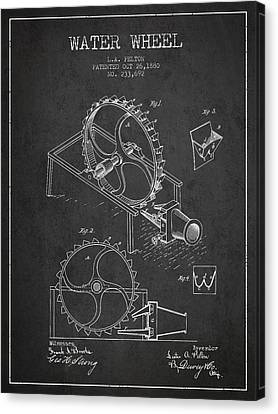 Water Wheel Patent From 1880 - Charcoal Canvas Print by Aged Pixel