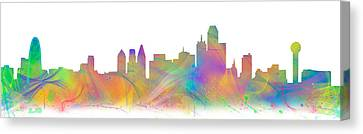 Digital Watercolor Of The Dallas Skyline Canvas Print by Tod and Cynthia Grubbs
