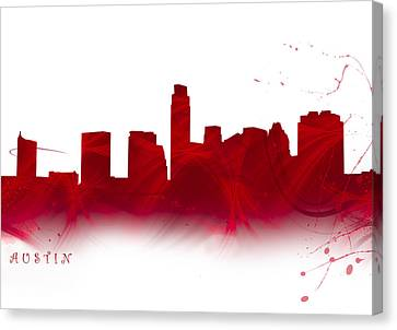 Watercolor Austin Skyline In Firey Red Canvas Print by Tod and Cynthia Grubbs