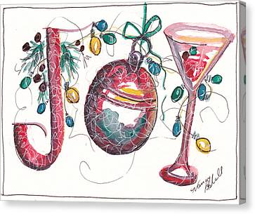 Watercolor Christmas Notecard Canvas Print by Michele Hollister - for Nancy Asbell