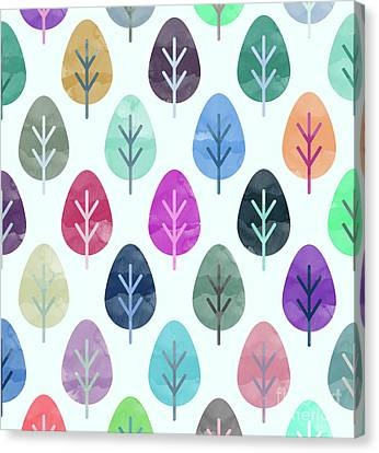 Watercolor Forest Pattern  Canvas Print by Amir Faysal