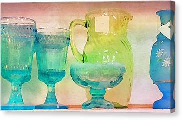 Watercolor Glassware II Canvas Print by Bonnie Bruno