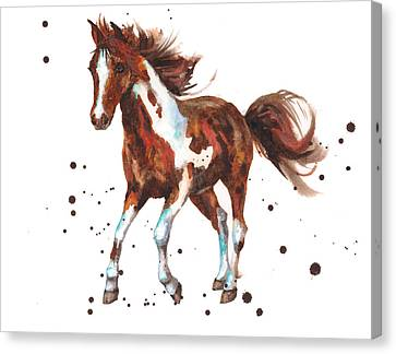 Watercolor Horse Painting Canvas Print by Alison Fennell