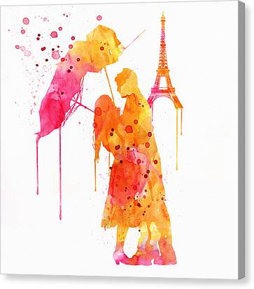 Watercolor Love Couple In Paris Canvas Print by Marian Voicu