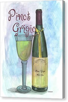 Watercolor Pinot Grigio Canvas Print by Debbie DeWitt