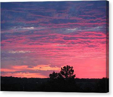 Watercolor Sunset Canvas Print by Jerry Browning