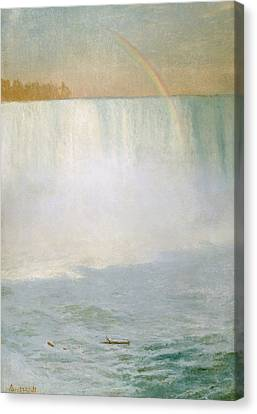 Waterfall And Rainbow At Niagara Falls Canvas Print by Albert Bierstadt