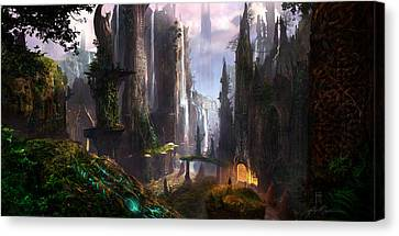 Waterfall Celtic Ruins Canvas Print by Alex Ruiz