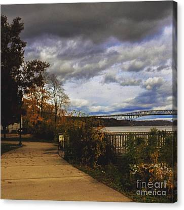 Waterfront Under Clouds  Canvas Print by Victory  Designs