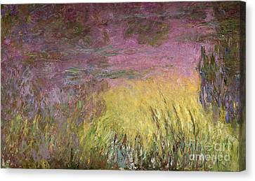 Waterlilies At Sunset Canvas Print by Claude Monet