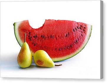 Watermelon And Pears Canvas Print by Carlos Caetano