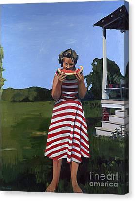 Watermelon Eater Canvas Print by Deb Putnam