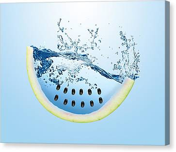 Watermelon Splash Canvas Print by Marvin Blaine
