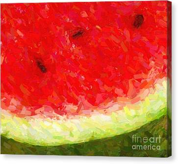 Watermelon With Three Seeds Canvas Print by Wingsdomain Art and Photography