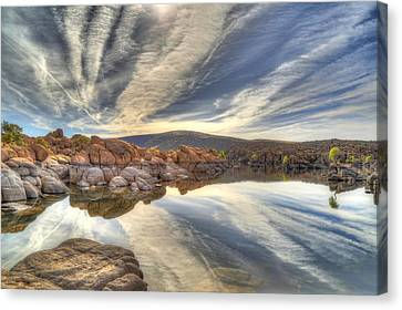 Watson Lake Reflections Canvas Print by Donna Kennedy