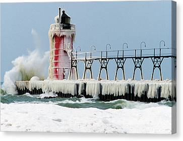 Wave Crashing On Snow-covered South Canvas Print by Panoramic Images