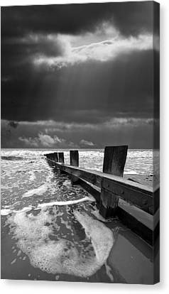 Wave Defenses Canvas Print by Meirion Matthias