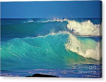 Waves And Surfer In Morning Light Canvas Print by Bette Phelan