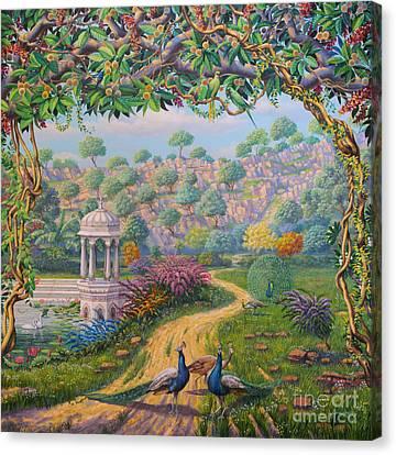Way To Govardhan Canvas Print by Vrindavan Das