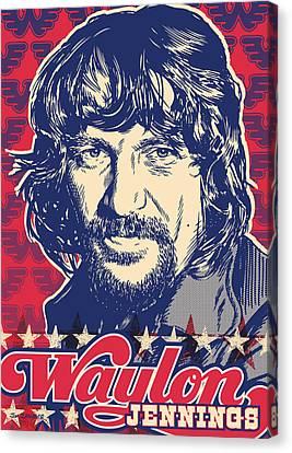 Waylon Jennings Pop Art Canvas Print by Jim Zahniser